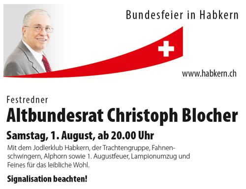 Festredner Altbundesrat Christoph Blocher am 1. August 2015 in Habkern
